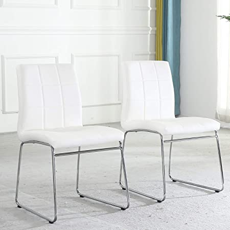 Amazon Com Modern Dining Chairs Set Of 2 Dining Room Chairs With Faux Leather Padded Seat Back In Checkered Pattern And Sled Chrome Legs Kitchen Chairs For Dining Room Kitchen Living Room White