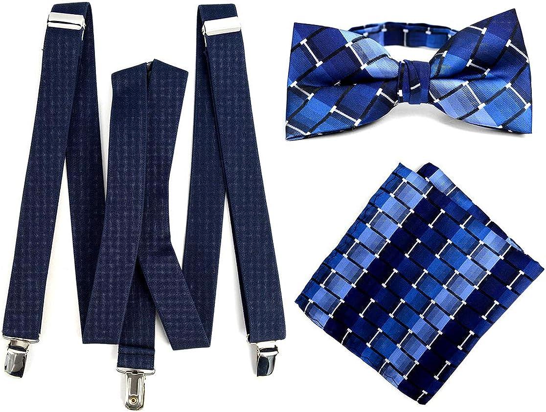 Stylish Blue Men's Navy Suspender, Bow Tie and Hanky Set
