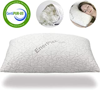 EnerPlex CertiPUR-US Certified Never-Flat Luxury Memory Foam Queen Pillow Shredded Bed Cooling Adjustable Loft Fully Machine Washable Removable Bamboo Cover 30x20 5-Year Warranty (Queen)