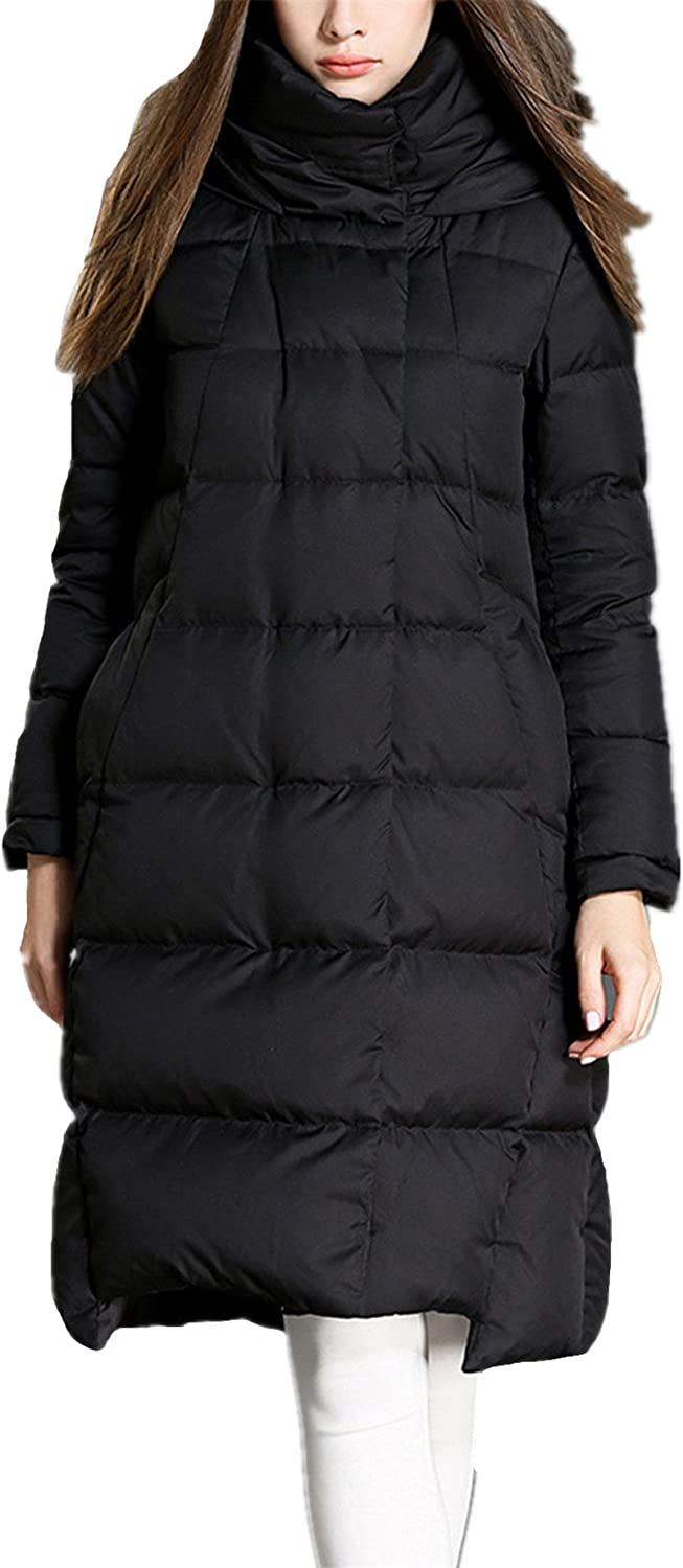 Allonly Women's Stand Collar Thicken Black Long Down Jacket Coat