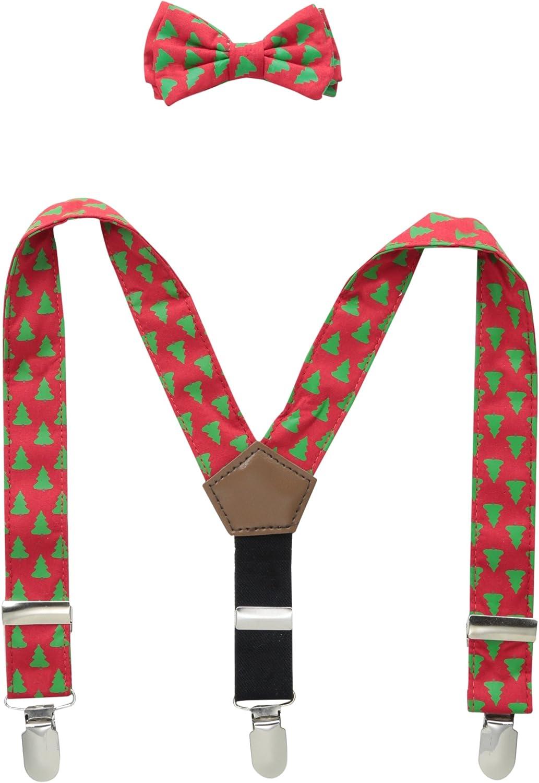Mud Pie Baby-Boys Newborn Holiday Tree Suspender and Bow Tie Set