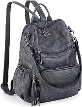 UTO Women Backpack Purse PU Washed Leather Convertible Ladies Rucksack Tassel Zipper Pocket Shoulder Bag