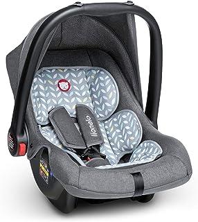babyschale Lionelo Noa Plus Auto Kindersitz Babyschalle ab Geburt bis 13 kg Fußabdeckung Sonnendach leichte Konstruktion 3-Punkt-Sicherheitsgurt abnehmbarer Polsterbezug Grau