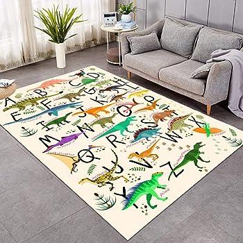 Sleepwish Area Rug Cute Dinosaur Large Carpet for Living Room Bedroom Colorful Alphabet Non-Slip Kids Boys Playing Room Mat (5' x 8')