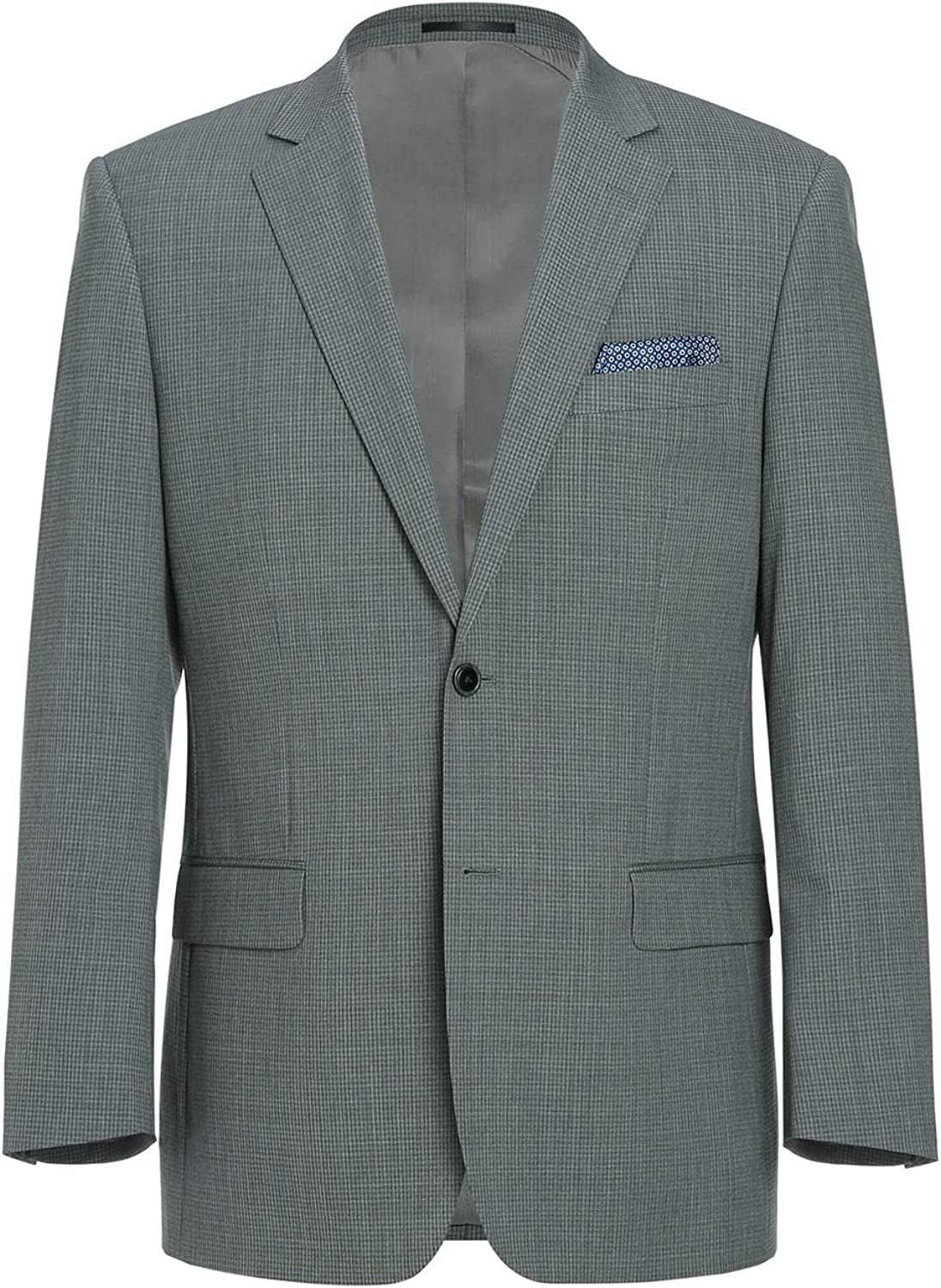 CHAMA Men's Two Buttons 100% Wool Classic Fit Casual Sports Coat Blazer Jacket