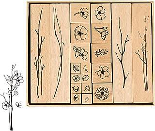 Dulau 20 Pcs Tampons en Caoutchouc en Bois, Ensemble de Tampons Décoratifs pour Bricolage Artisanal, Tampons en Caoutchouc...