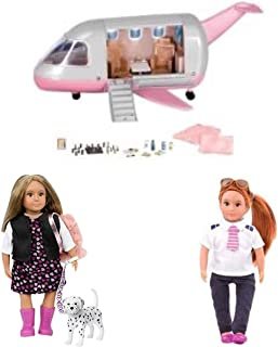 TheBeliever Holiday Bundle of 3 ! Our Generation Lori Doll Luxury Jet,Pilot Doll Joanna and Lori Doll & Pet - Gia & Gunner 6 inch Doll