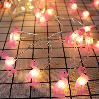Yaeer Pink Flamingo String Lights Decorating, 6.6ft 20 LEDs Tropical Themed Fariy Strung Light Birthday Bedroom Beach Wedd...