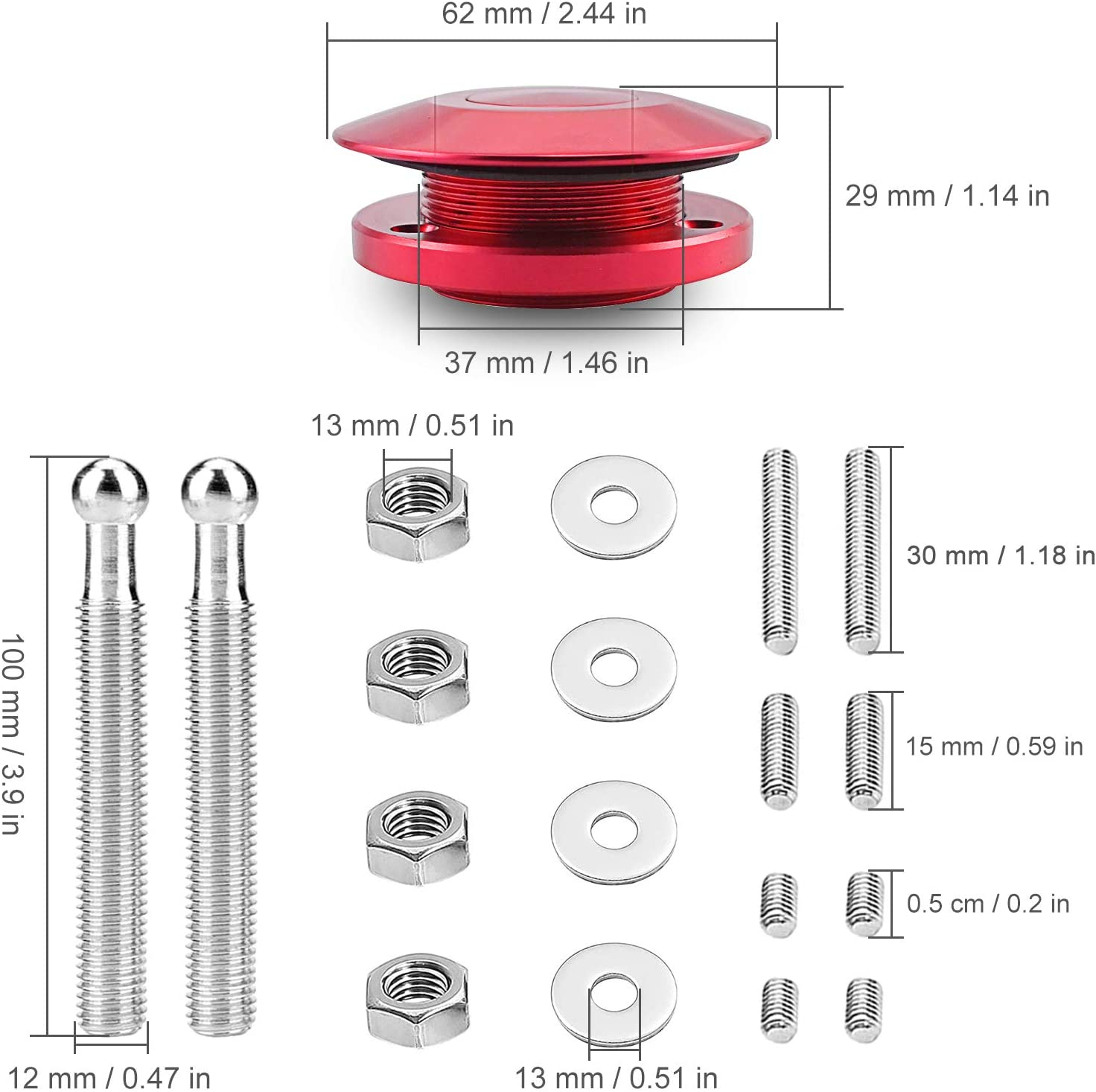 2.44 Diameter Quick Release Latch Push Button Hood Bonnet Pins Lock Clip Kit Red Hood Pins 2 Pack Quick Latch Aluminum Hood Pin Kits Car Bonnet Quick Release Hood Pins Lock for Cars or DIY
