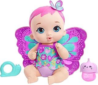 MyGardenBaby poupon bébé papillon boit et fait pipi 30 cm rose avec couche, vêtements et ailes amovibles, poupée pour en...