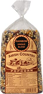 Amish Country Popcorn - 2 Lb Rainbow Kernels - Old Fashioned, Non GMO, Gluten Free, Microwaveable, Stovetop and Air Popper Friendly with Recipe Guide