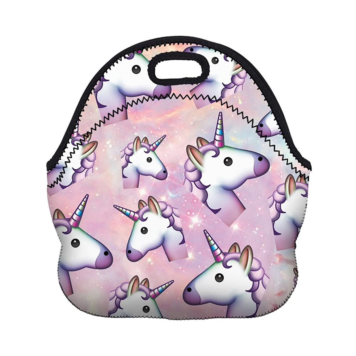 Boys Girls Kids Women Adults Insulated School Travel Outdoor Thermal Waterproof Carrying Lunch Tote Bag Cooler Box Neoprene Lunchbox Container Case For Outdoors,Work,Office,School (Nice Unicorns) leoox6997
