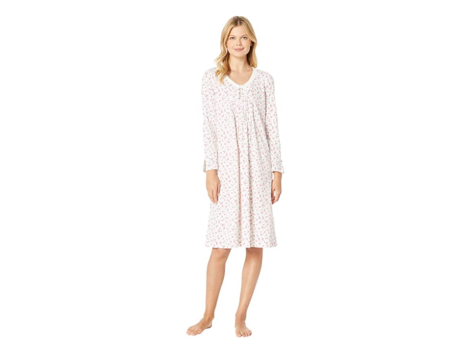 Carole Hochman Long Sleeve Long Nightgown (Red Ditsy Floral) Women