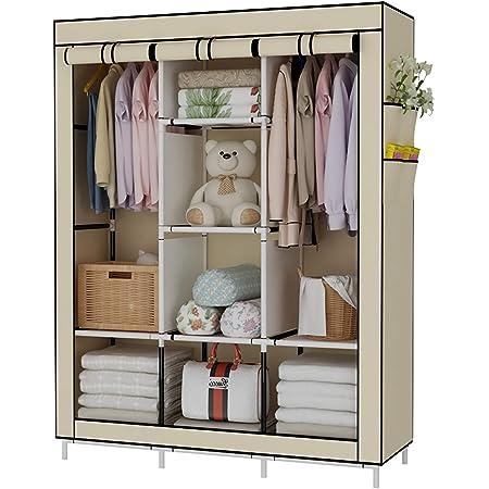 170 cm Grau 45 UDEAR Kleiderschrank Faltschrank W/äscheschrank Schrank Kleidung Speicherorganisator Canvas 105