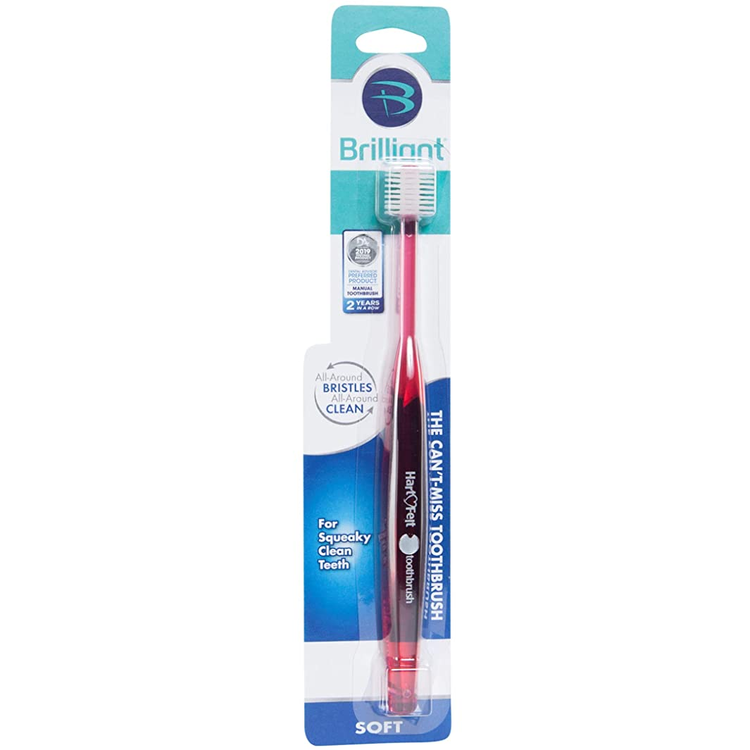 Brilliant Soft Toothbrush for Adults - With Over 14,000 360 Degree Micro-Fine, Rounded-Tip Bristles for Easy & Effective Cleaning, Red, 1 Count