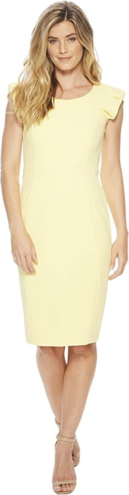 Calvin Klein Folded Puff Sleeve Scoop Neck Sheath CD8C12JL