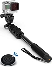 Professional 10-in-1 Monopod Selfie Stick for All GoPro Hero, Action Cameras, Cellphones, Digital Compacts with Bluetooth Remote Shutter - Extends 15