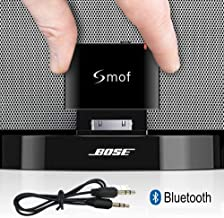 Smof Premium Adaptador Bluetooth de 30 Pin para Sounddock, Reemplazo para iPod/Teléfono Conectado a Bose/JBL/Car, Receptor de Audio Bluetooth 3.5 mm AUX