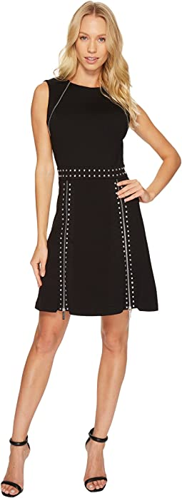 MICHAEL Michael Kors - Pyramid Stud Zip Sleeveless Dress