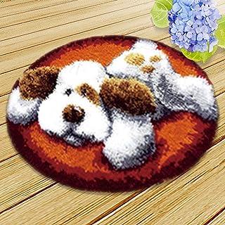SxLingerie Modèle Dog Loquet Crochet Tapis De Coussin Kits sous Tapis De Pied Hemming avec Fond Chien 20 * 20 Pouces (1 Pa...