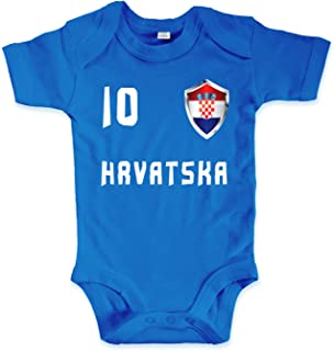 net-shirts Organic Baby Body mit Kroatien Croatia Hrvatska Trikot 02 Aufdruck Fußball Fan WM EM Strampler - Spielernummer wählbar, Größe 00-03 Monate - Spielernummer 10, blau