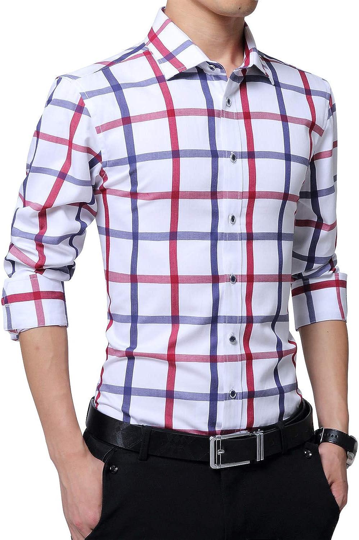 FRTCV Men's Button Down Dress Shirts Slim Fit Cotton Business Casual Shirt