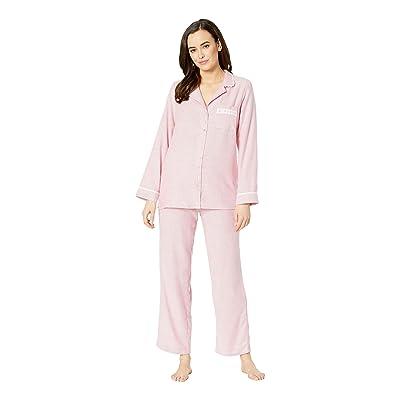 Eileen West Flannel Notch Collar Pajama Set (Red Stripe) Women