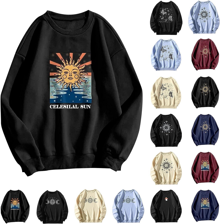 Hotkey Sweatshirts for Women, Womens Crewneck Sweatshirt Cute Mushroom Print Pullover Loose Casual Long Sleeve Tops Sweater