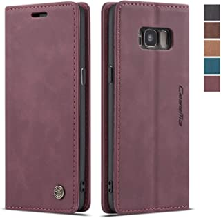 Samsung Galaxy S8 Case,Samsung Galaxy S8 Wallet Case Cover, Magnetic Stand Flip Protective Cover Leather Flip Cover Purse Retro Style with ID & Credit Card Slots Holder Case for Galaxy S8 (Wine Red)