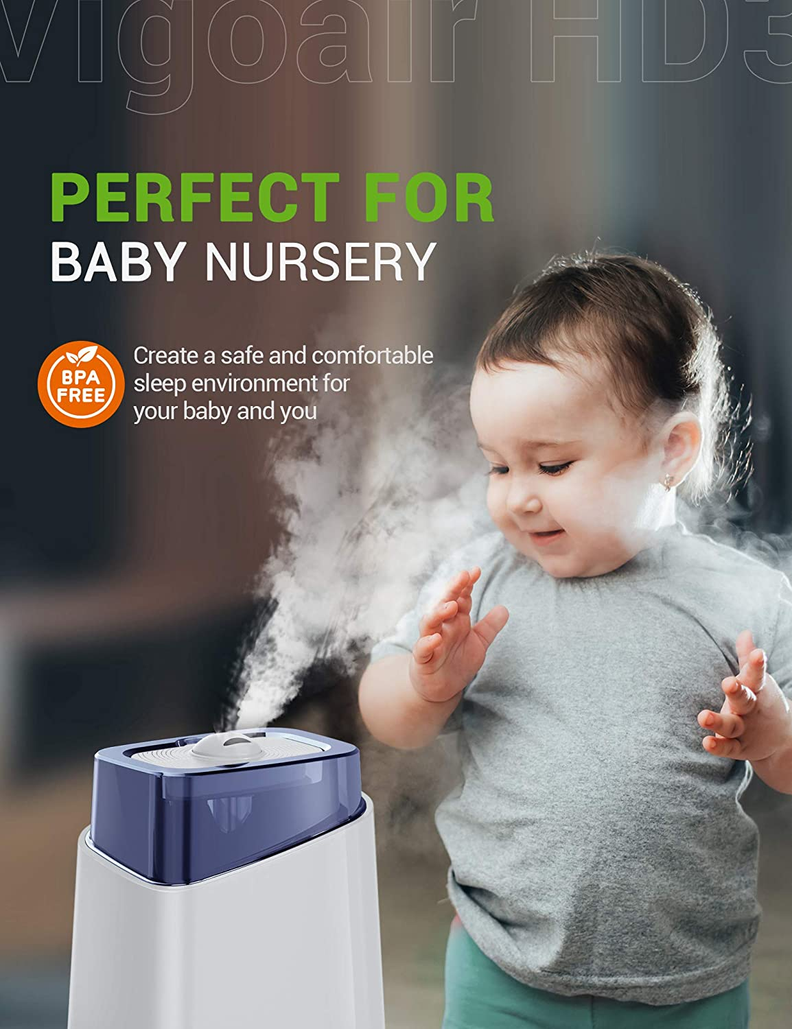 Baby 360/° Nozzle up to75 Hours Runtime 26dB Quiet Ultrasonic Humidifiers for Large Bedroom BPA-Free Ideal for Plants Office Kyvol Vigoair HD3 Humidifier Home Auto Shut-off 4.5L Cool Mist Humidifiers