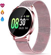 GOKOO Smartwatch Mujer Rosa Impermeable Reloj Inteligente Elegante Fitness con Monitor Impermeable IP67 con Monitor de Sueño Pulsómetros Podómetro Contador de Caloría Compatible con iOS Android