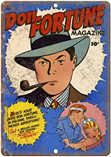 """Benson Don Fortune Comic No 1 Comic Cover Book 12"""" x 8"""" Retro Tin Metal Sign for Bar, Study, Sitting Room, Dining-Room, Bedroom, Cafe"""