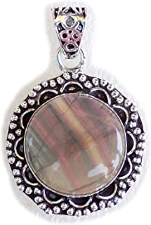 Fluorite Pendant, Silver Plated Brass Pendant, Handmade Pendant, Gift Jewelry, Women Jewellry, Fashion Jewellry, BRS-12520