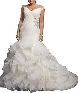 Women's Mermaid Wedding Dresses for Bride Cap Sleeve Beaded Bridal Gown