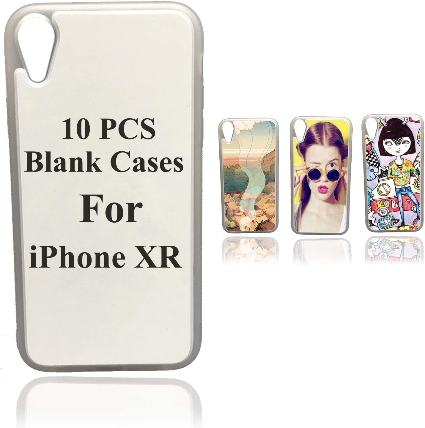 10PCS Sublimation Blanks Phone Case Covers Soft Rubber Compatible with Apple iPhone XR 6.1 Inch Printable Phone Case Blank Printable Phone Cases for DIY Clear Transparency Edge