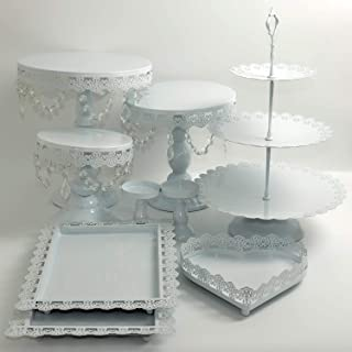Proshopping 9 Set Antique Metal Cake Stand, Classical Round Cupcake Holder, Cake Plate Tray, Cookie Pedestal Display Tower, for Wedding Birthday Party, with Crystals Pendants and Beads, White