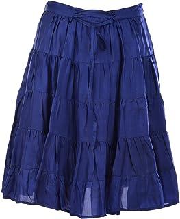 Geroo Jaipur Women's Silk Short Skirt (Free Size, Blue)