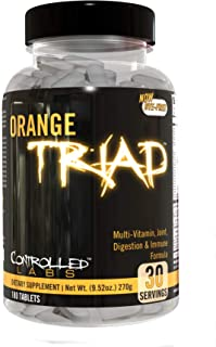 Orange Triad Daily Multivitamin for Men and Women by Controlled Labs, Iron Free Sports Supplement for Worko...