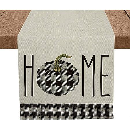 Amazon Com Elrene Home Fashions Farmhouse Living Fall Burlap And Check Pumpkin Centerpiece Runner 13 X 36 Table Black White Home Kitchen