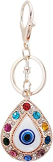 LAXPICOL Crystal Drop Colorful Keychain For Women Lovely Keyring Rose Gold Tone