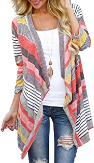 DEARCASE Women's 3/4 Sleeve Cardigans Striped Printed...