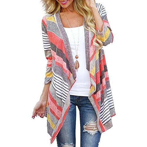 429e3a280 DEARCASE Women's 3/4 Sleeve Cardigans Striped Printed Open Front Draped  Kimono Loose Cardigan