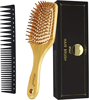 BFWood Bamboo Paddle Hairbrush and Detangling Hair Comb Set for All Hair Types