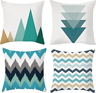 Set of 4pcs 18x18 Decorative Throw Pillow Covers for Couch, Home Sofa Decorative Couch Pillow Covers with Blue/Gray Modern...