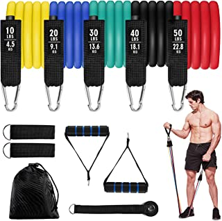 Set met weerstandsbanden, set met fitnessbanden van Aiglam, stapelbare oefenbanden, banden om binnen en buiten mee te trai...