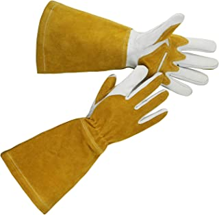 OLSON DEEPAK Grain Leather MIG Gloves with Split Leather Palm Reinforcements, Split Leather Back, Cotton Lining, Seamless Forefinger and Elastic Back (White-Golden-Large)