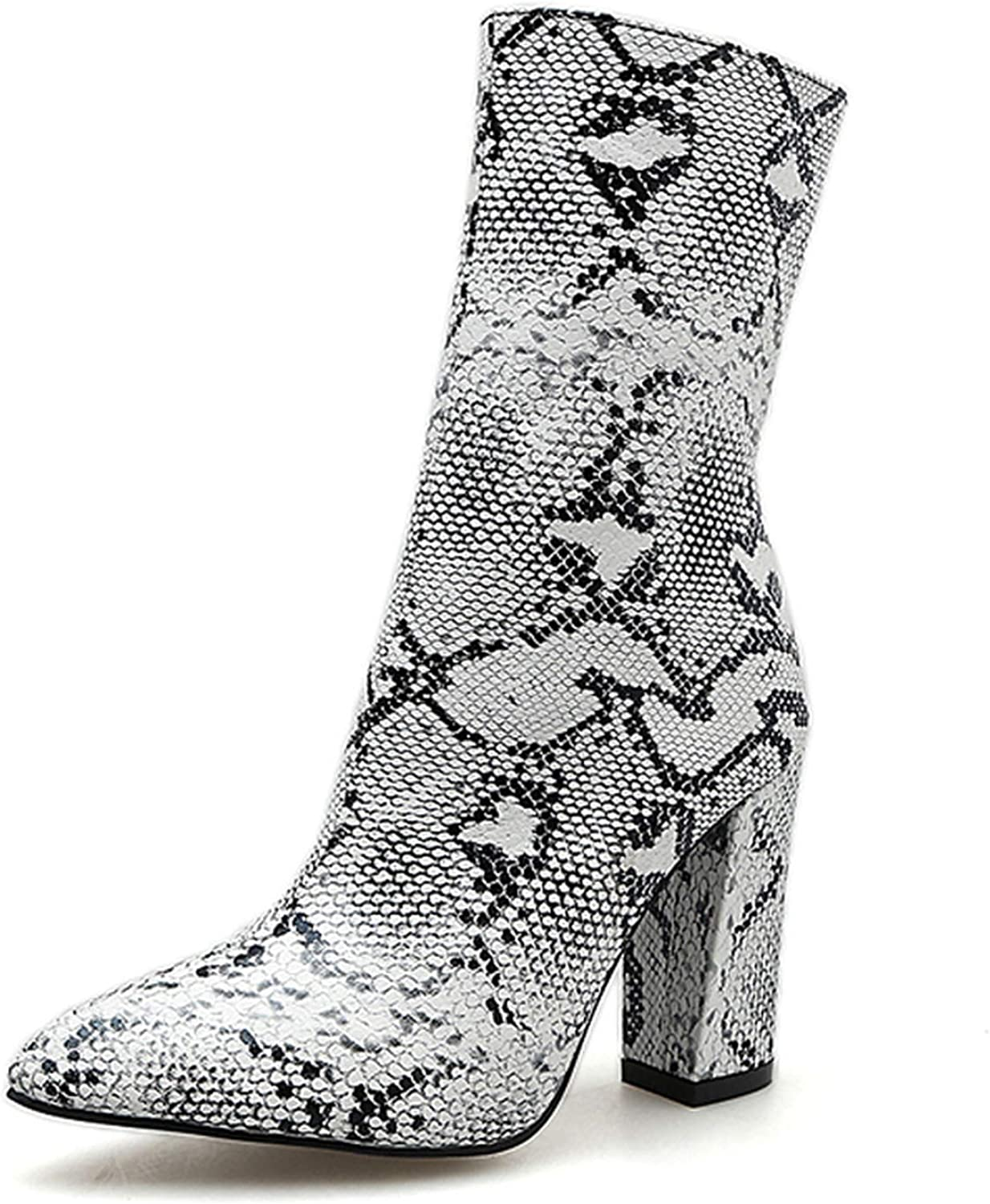 IOJHOIJOIJOIJMO Print Snake Pu Women Ankle Boots Zip Pointed Toe High Heels Female Boot Party shoes Women 2019 Winter Size 35-42