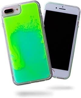SteepLab Flowing Neon Sand Liquid iPhone 8 Plus & iPhone 7 Plus Case - Full Body Protection with Raised Bezel - Mint and Neon Green Glow