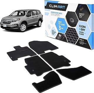 Allweather Tapetes para Autos CLIM ART Honeycomb Custom Fit Floor Mats for Honda Pilot 2016-2020 Black//Black FL011616067 Car Floor Liner Car Accessories 1st /& 2nd /& 3rd Row