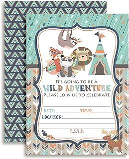 Wild Adventure Tribal Boho Boy Birthday Party Fill in Invitations Set of 20